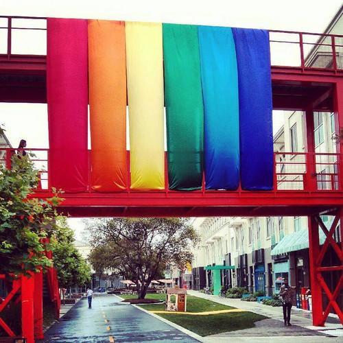 Facebook hangs a rainbow flag at its headquarters in Menlo Park, California.
