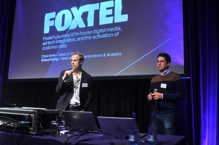 Foxtel's head of digital Chris Smith and head of online performance and analytics, Willem Paling at ADMA's Techmix  in Sydney