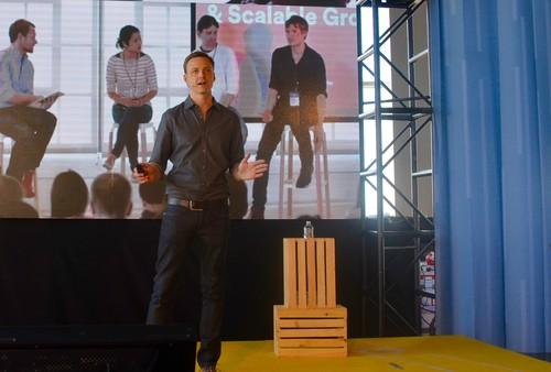 Mike Curtis, VP of engineering at Airbnb, speaking during the company's OpenAir summit in San Francisco on June 4, 2015.