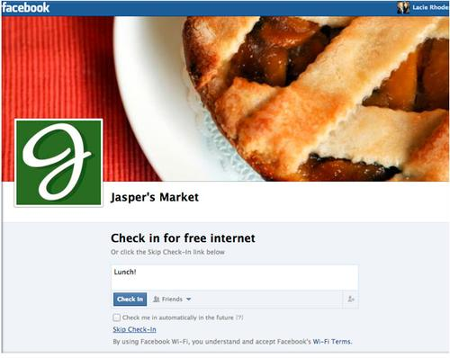 A check-in page for Facebook Wi-Fi