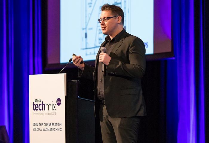 Damien Cummings speaking at the ADMA Techmix event