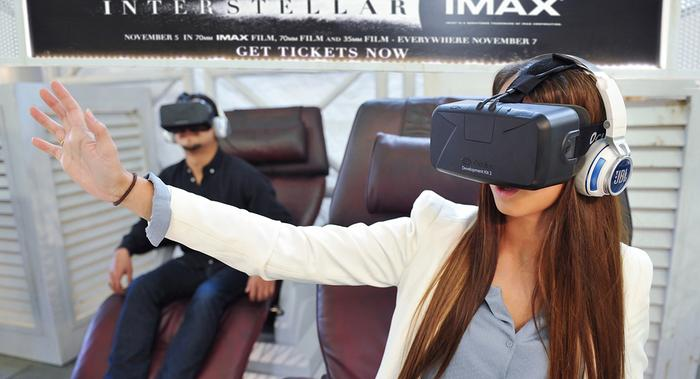 Consumers try out the Interstellar virtual reality experience
