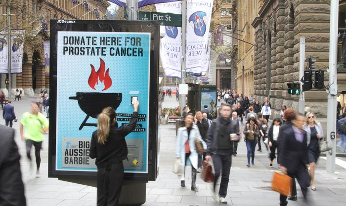 JCDecaux's recent campaign for Prostate Cancer Foundation of Australia used tap and go technology to give people the scent of the Great Aussie Barbie