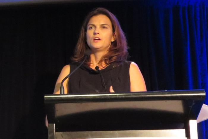 Vodafone CMO Kim Clarke addresses the ADMA Forum.