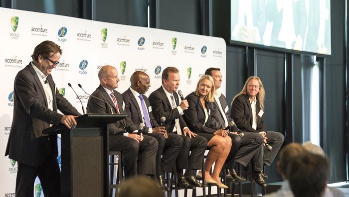 From left: Dave Maunsell, Accenture; Stuart Tucker, CommBank; Ben Amarfio, Cricket Australia; Bill Pulver, Australian Rugby Union; Stephanie Tully, Qantas; Arno Lenoir, Samsung; Scott Dinsdale, Accenture