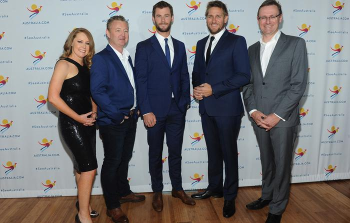 From left: Tourism Australia CMO, Lisa Ronson, Luke Mangan, Chris Hemsworth, Curtis Stone and Tourism Australia MD, John O'Sullivan